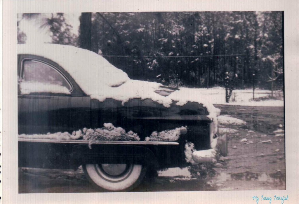 Car in Snow Mississippi Gulf Coast